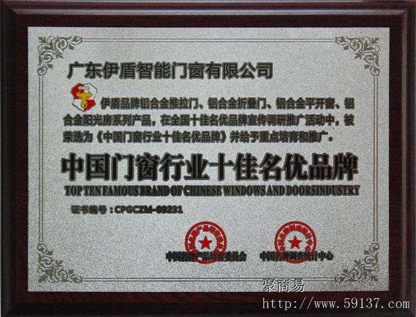 中国门窗行业十佳名优品牌