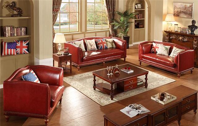 供应长沙星沙美式风格真皮家具欧式皮沙发