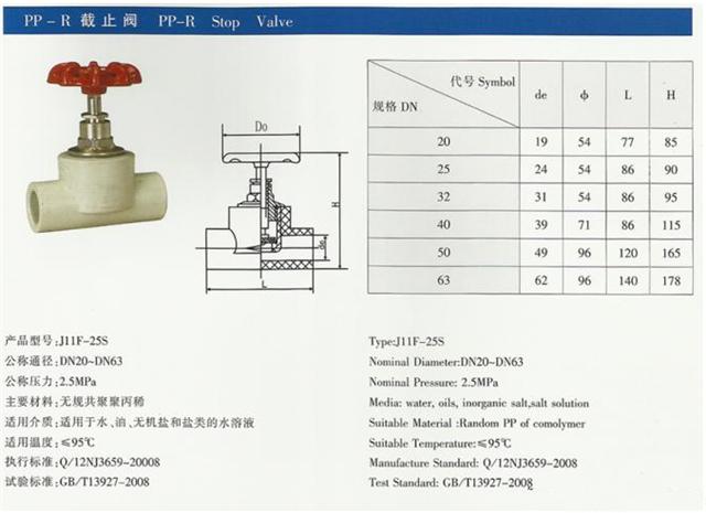 pp-r截止阀结构图及尺寸