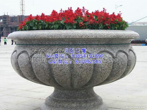 莱西石雕花盆|黄锈石花盆|石雕花钵价格