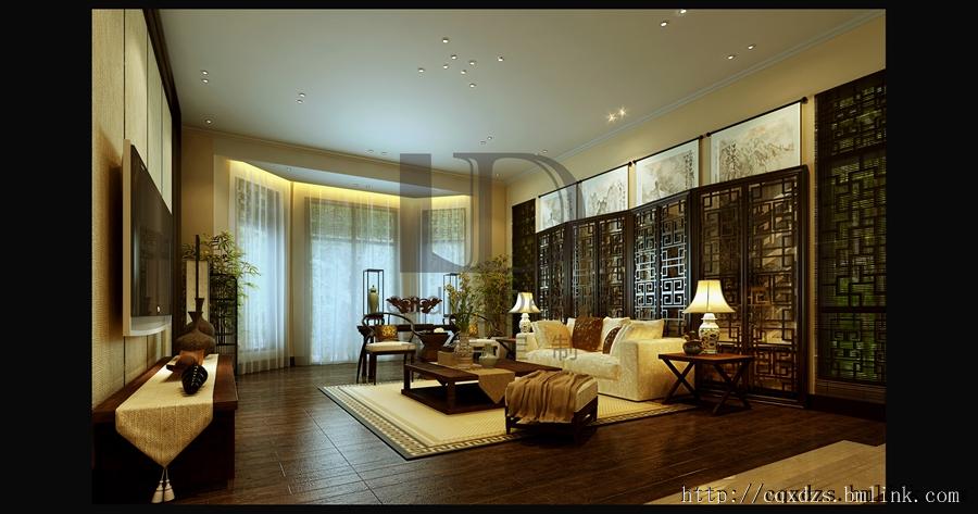 重庆联排别墅装修设计案例效果      1,中式复古屏风隔断 选择与室内
