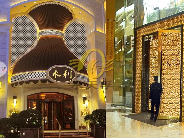 高档酒店钛金不锈钢板门头装饰效果工程实例