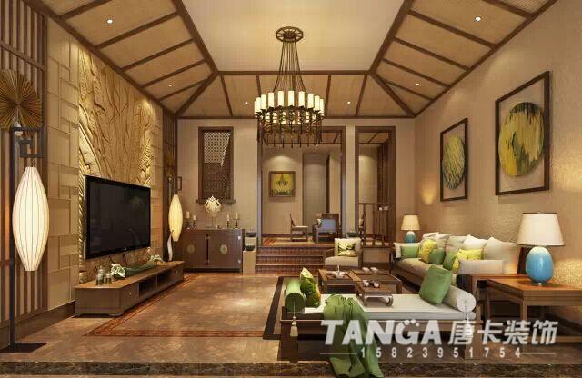 在家具配置上,选用了厚实大气的华源轩-黄金柚系列家具,线条简洁凝练,祥瑞的花纹,简洁的设计,值得细细品味。在配饰上,艳丽华贵的色彩,别具一格的东南亚元素,使居室散发着淡淡的温馨与悠悠禅韵。本方案体现的是奢华可以舒适,可以实用,也可以贴近生活,传达出了既可以悠闲自在,也可以奢华的现代设计观。适宜喜欢静谧与雅致,文化修养较高的成功人士。