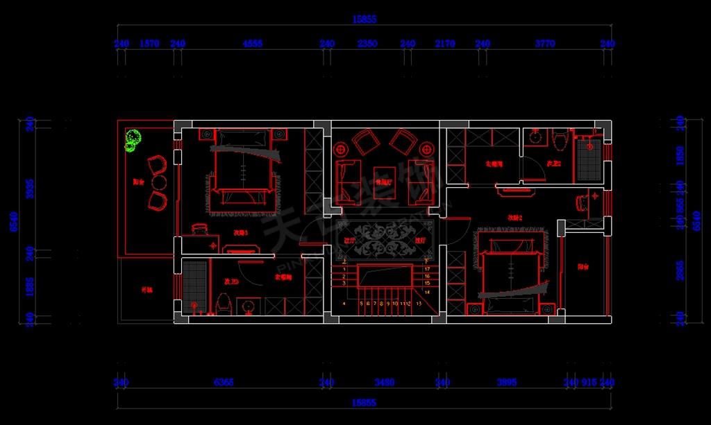 鲁能领秀城联排别墅 二层装修设计平面布置图