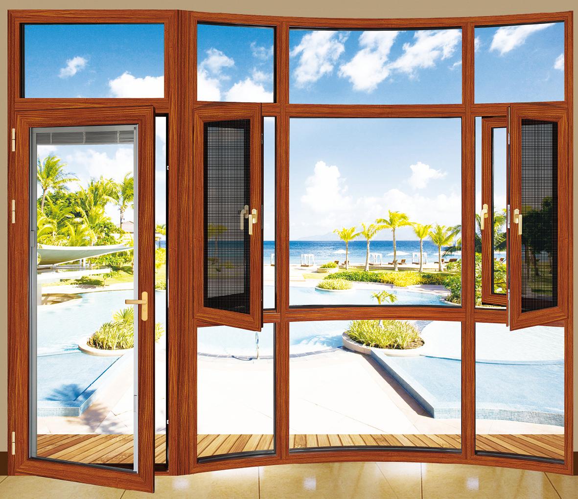 首页 产品供应 门窗 窗 铝合金窗 > 供应断桥柚木平开窗   价格 电议