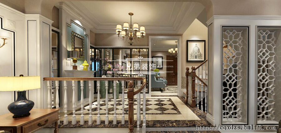 客厅与楼梯间则用半隔断雕花处理