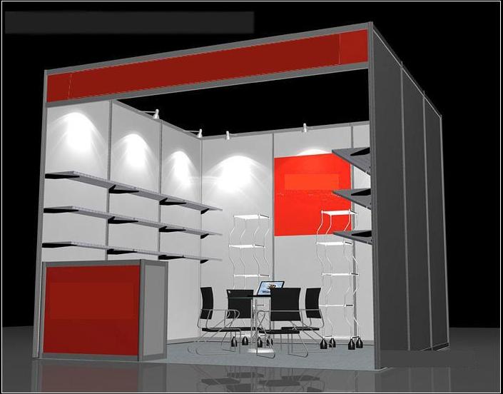 3×3m是一个标准展位八棱柱和扁铝及其他的展架组合可设计出多种造型.