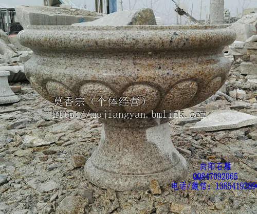 黄岛石雕花盆|黄锈石花盆|石雕花钵价格