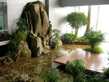 庭院假山水池手绘