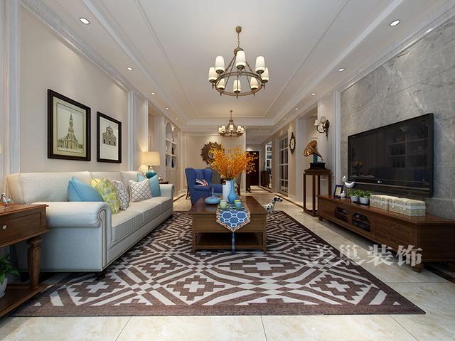 护墙板和石材结合做成对称造型,更完美的诠释了简美的精华,沙发背景墙图片
