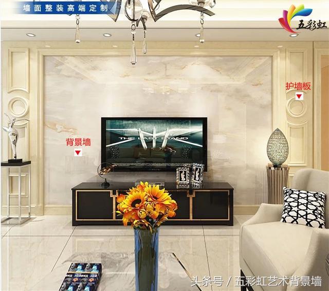 3,简约欧式风格客厅电视护墙板造型背景墙效果图