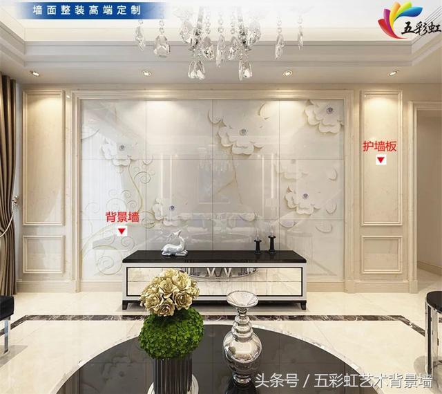 4,简约欧式风格客厅电视护墙板造型背景墙效果图