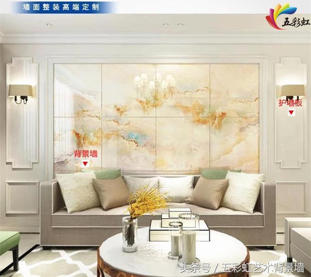 6,简约欧式风格客厅沙发护墙板造型背景墙效果图