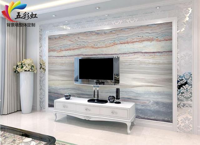 简约舒适的微晶石电视背景墙,享受自然生活的情怀 蓝色微晶石电视墙