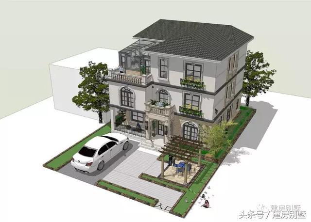简欧式风格的三层农村别墅,带庭院设计,庭院内设有葡萄架,夏天的