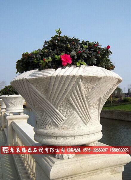 石雕花钵石雕花盆园林花盆厂家质量好供量大