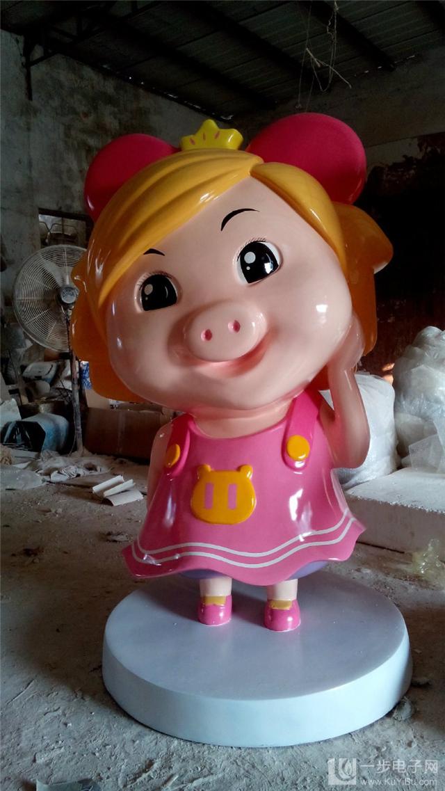 定制 仿真卡通小猪雕塑 可爱动漫雕塑上海