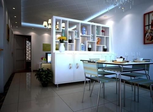 餐厅造型设计效果图: 客厅与餐厅巧用隔断一厅变两厅-客厅博物架隔断
