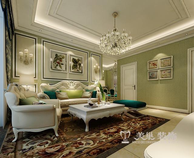 简欧风格沙发背景墙,白色木制线条加图片
