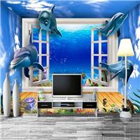 供应KTV主题墙纸酒店海底世界 3D海洋壁画