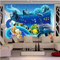 供应酒店餐厅壁画 KTV海洋世界5D无缝墙纸