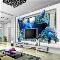 供应餐厅海洋世界壁画 酒店海豚立体墙纸