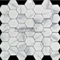 卡拉拉白玻璃马赛克 六边形水晶玻璃系列