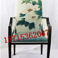 新中式布艺造型餐椅 酒店会所别墅洽谈椅子