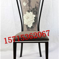 新中式实木布艺餐椅洽谈桌椅软包靠背椅子