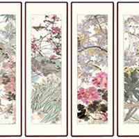 四条屏挂画瓷板画