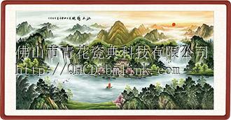 仙山福地 迎客纳福瓷板画供应厂家