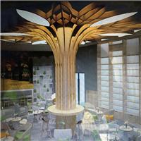 餐厅装饰就用造型弧形铝方通吊顶天花