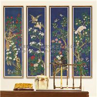 一二三陶瓷手绘纯实木装框四条屏瓷板画