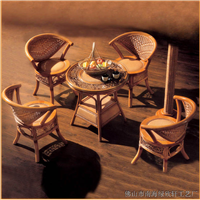 绿欣轩中式客厅休闲组合藤椅茶几五件套9019