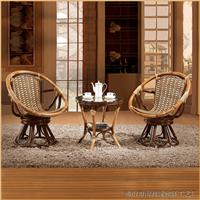 绿欣轩 休闲转椅藤椅茶几组合三件套9008