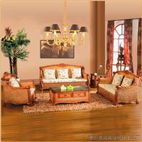 绿欣轩 藤沙发五件套  休闲沙发组合9011