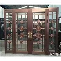 供应步丹真铜门不锈钢镀铜门四开玻璃大门