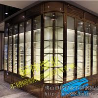深圳不锈钢酒窖五星级酒店玫瑰金不锈钢酒柜