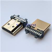 HDMI A TYPE 19 20P焊线公头 加锡镀金