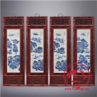 供应景德镇手绘青花山水陶瓷四条屏