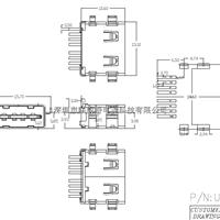AF短体10.6正反插母座(90度4脚插针全贴)
