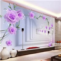 3D立体大型壁画 玫瑰花藤沙发电视背景墙