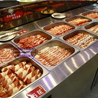 太原火锅店冷藏展示柜 不锈钢自助餐台定做