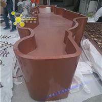 订做酒店镀钛不锈钢花盆,曲面咖啡色花盆