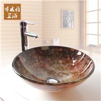 钢化玻璃卫生间圆形洗手盆 复古玉石台上盆