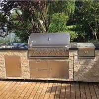 供应黑色大理石台面户外不锈钢燃气烧烤台