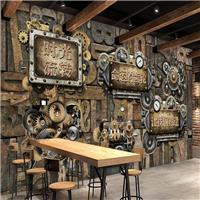 供应水泥砖工业风壁画 餐厅彩绘3d复古壁纸