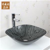 钢化玻璃洗手盆卫生间艺术盆方形台上盆