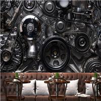 供应酒吧loft工业风墙纸 餐厅KTV仿铁皮壁画