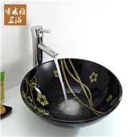 卫生间台上盆手绘金色花瓣中国风艺术盆